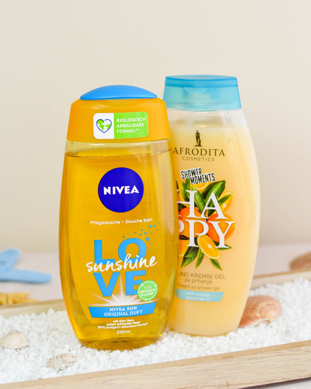 Nivea Love Sunshine Shower Gel and Afrodita Shower Moments Happy Cream Oil Shower Gel