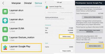 Langkah Cara Menghapus Data Layanan Play Store