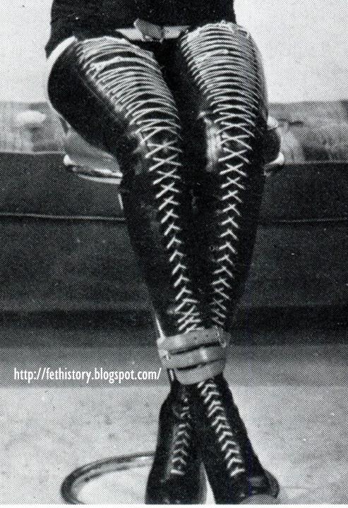 vintage laced Irving Klaw boots, Charles Guyette