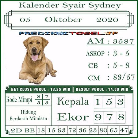 Kalender Prediksi Sidney Senin 05 Oktober 2020