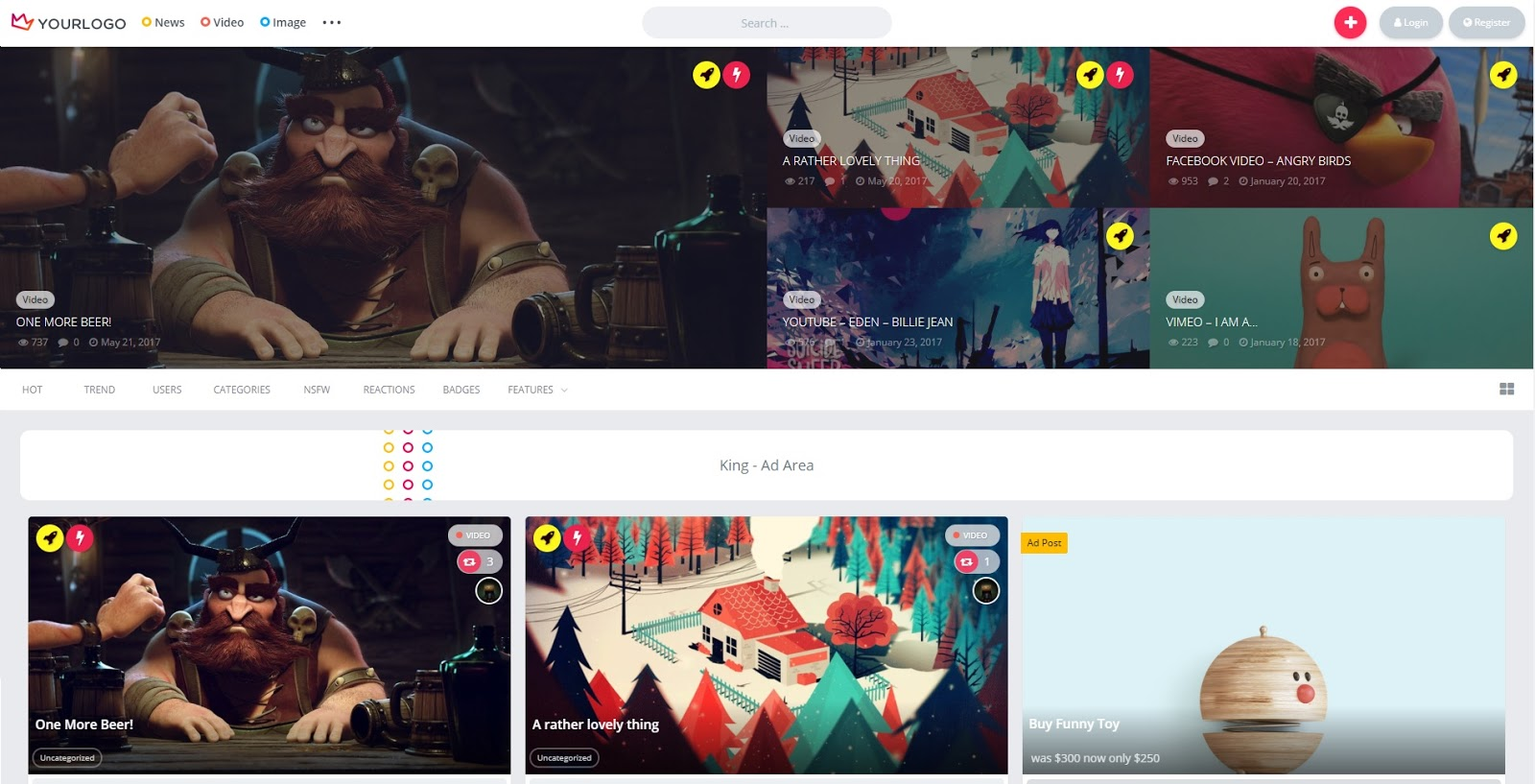 Theme King – WordPress Viral Theme V1.9.1 làm website MXH Video