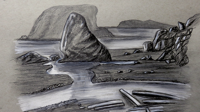 رسم منظر طبيعي بالرصاص والفحم الابيض