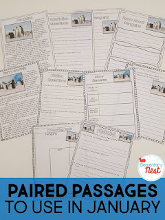 Paired Passages for January plus a few FREEBIES- blog post highlighting hands-on activities for kids