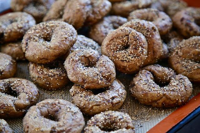 home made mini bagels using malted flour. British Organic Carrot supper club Pic: Kerstin Rodgers/msmarmitelover.com