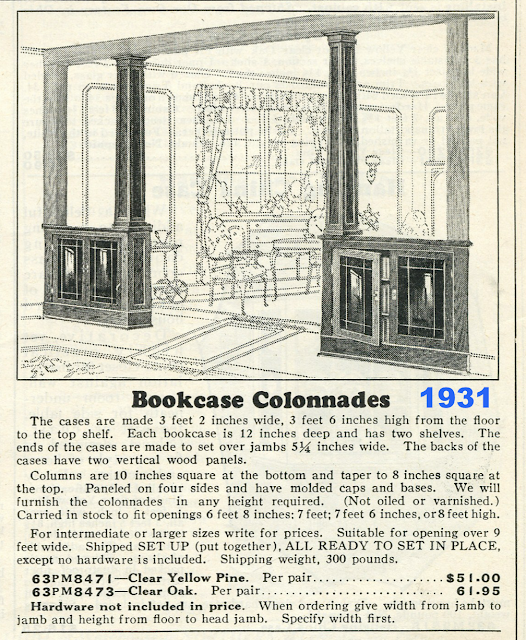 catalog page showing bookcase colonnades from Sears