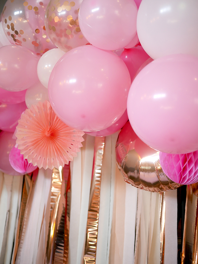 Pink streamers and balloons