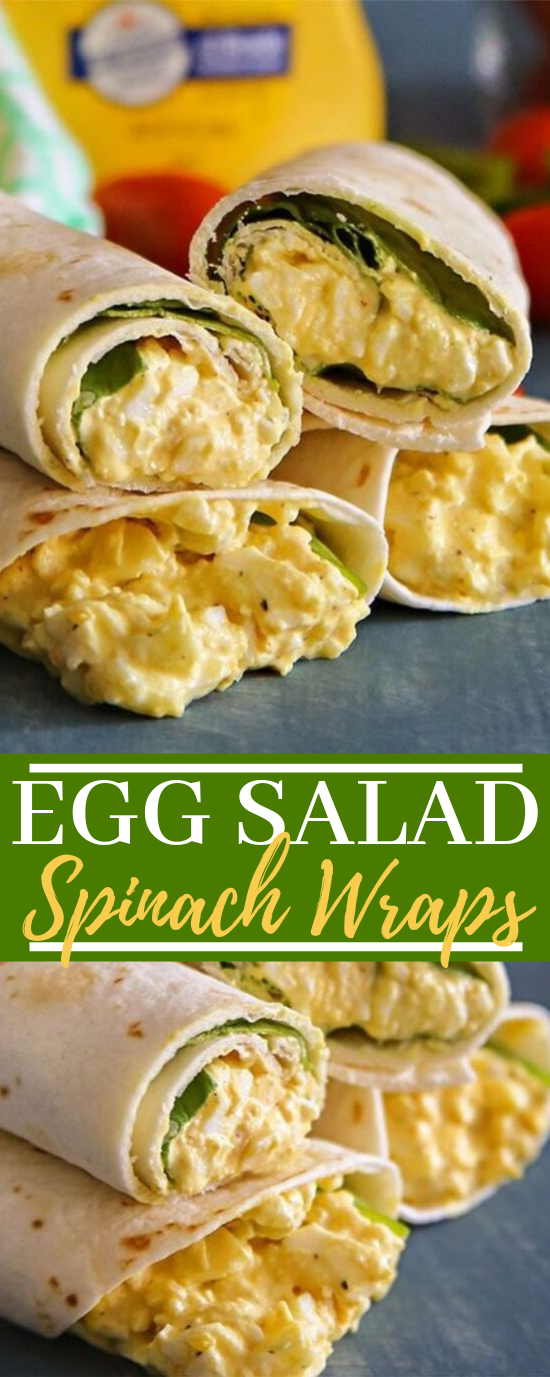 Egg Salad Spinach Wraps #healthy #lowcarb
