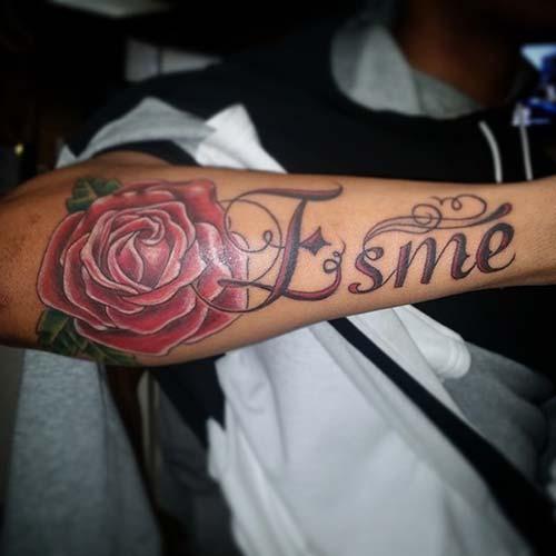 man forearm bir name tattoo with rose erkek kol büyük isim dövmesi