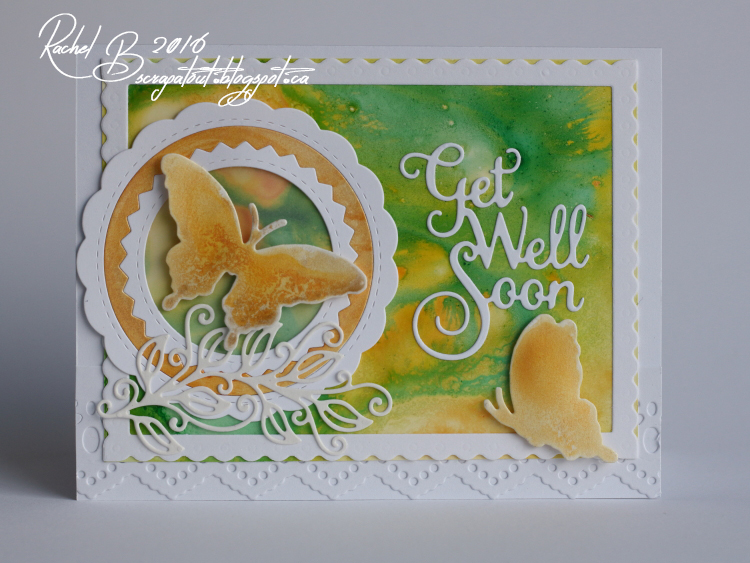 Scrapatout - Handmade card, Get Well Soon, Butterflies, Yupo, IZINK