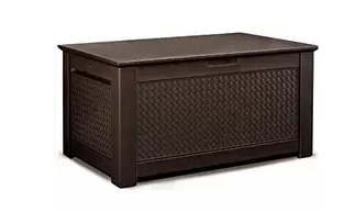 Rubbermaid 1859930 Outdoor Deck Box Storage Bench with Dark Teak Basket Weave Design,Deck Boxes, Garden Boxes, Garden Storage Box, Garden Storage Boxes, Keter, Lifetime, Plastic Deck Boxes, Plastic Deck Storage Container Box, Plastic garden Storage Box, Rubbermaid, Rubbermaid Deck Boxes,