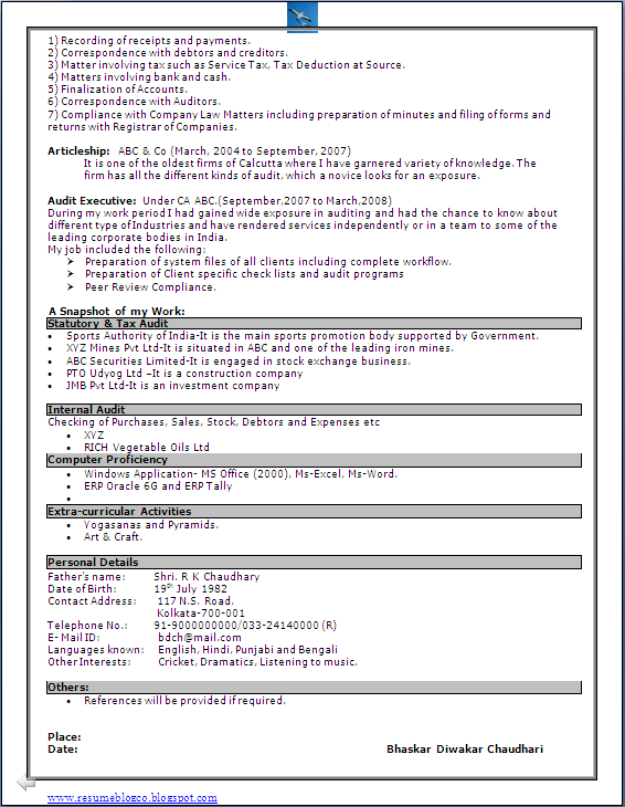 400 Resume Format Samples Freshers Experienced Excellent Resume Format Sample In Word Doc Chartered