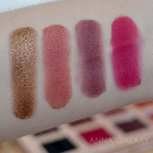 Свотчи оттенков теней  Imagic PROfessional cosmetics 16 color eyeshadow palette
