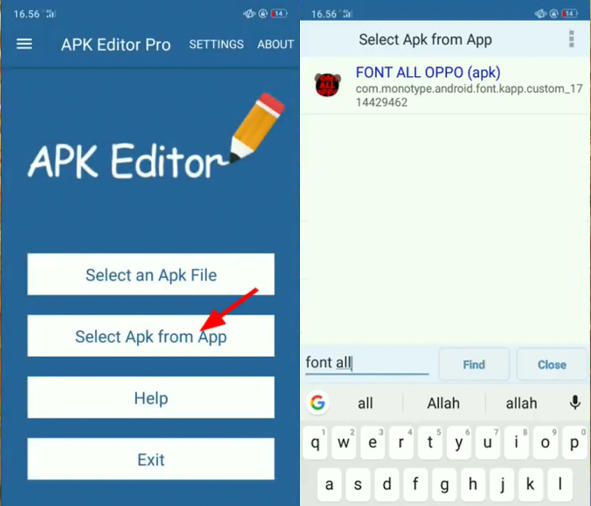 APK Editor Font All Oppo