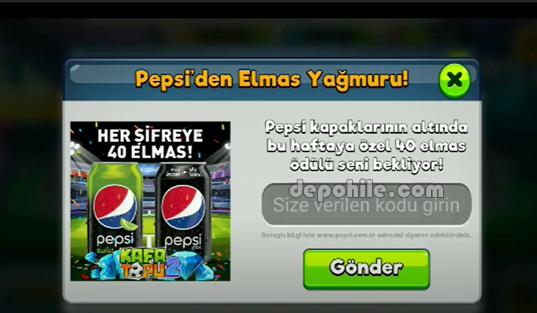 Kafa Topu 2 Güncel Pepsi Kodları Elmas Veren Promo Kodlar