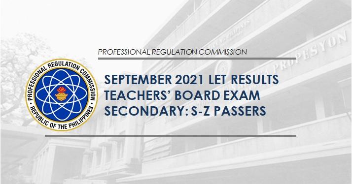 S-Z Passers: September 2021 LET board exam result
