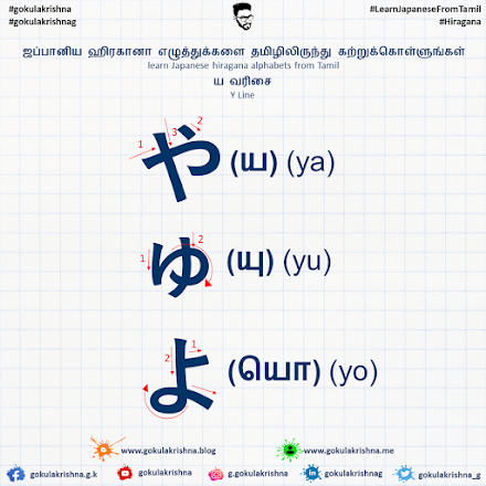 Japanese Hiragana Y - Line Consonants with Stroke Order | learn Japanese hiragana alphabets from Tamil - Hiragana Letters Part 8