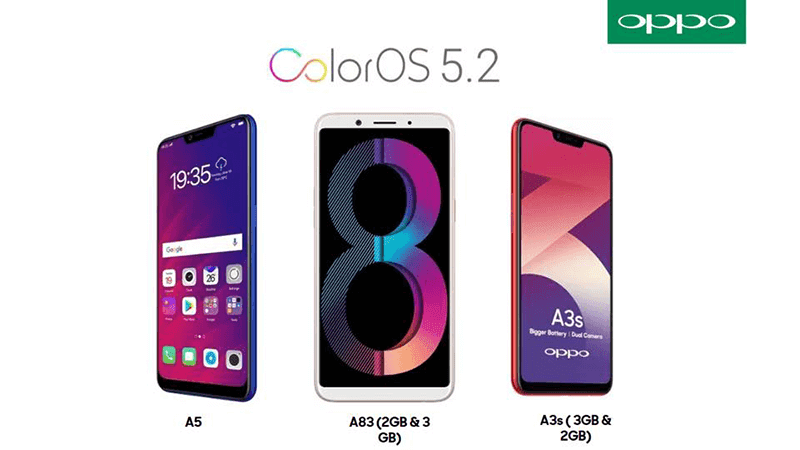 OPPO updates A5, A3s, and A83 to ColorOS 5.2