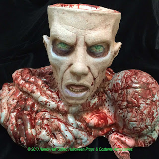 Creepy ZOMBIE HEAD BRAIN with BOWEL CANDY BOWL PROP-Horror Decor