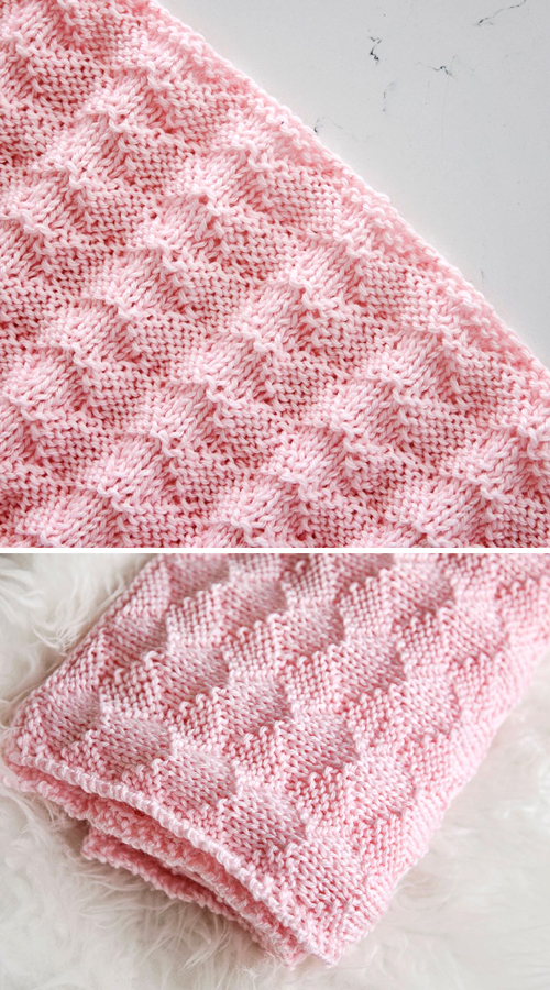 Diamonds and Purls Baby Blanket - Free Knitting Pattern