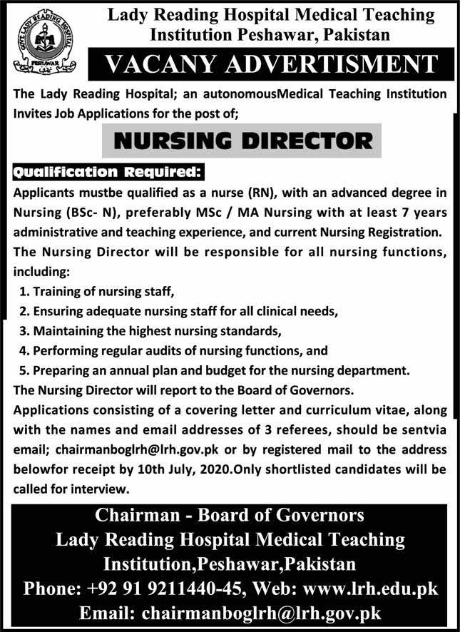 Latest jobs in Lady Reading Hospital Medical Teaching Institution 2020