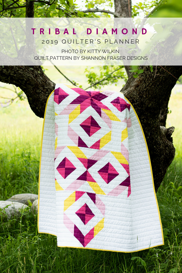 Tribal Diadmond Quilt featured in the 2019 Quilter's Planner | Q4 2018 FAL | Shannon Fraser Designs