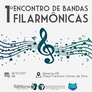 Baraúna realizará o 1° Encontro de Bandas Filarmônicas neste domingo (29)