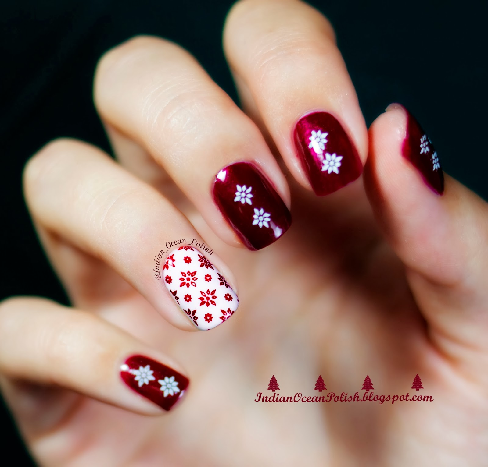 Easy Christmas Nail Art: Indian Ocean Polish: Christmas 2013 Nail Art Ideas: Simple