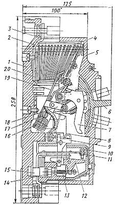 Разрез установочного автомата А3120 на 100 А, 500 В с комбинированным расцепителем