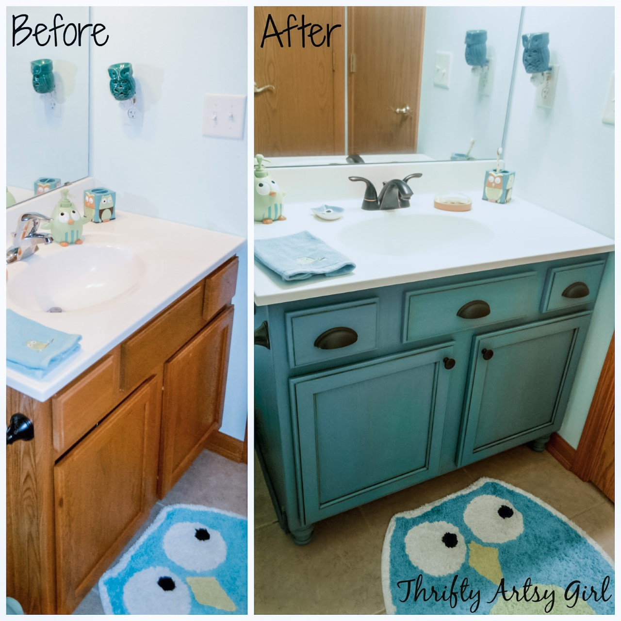 Thrifty Artsy Girl Builders Grade Teal Bathroom Vanity And Faucet Upgrade For Only 60
