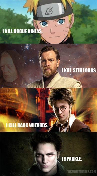 Meme de humor sober Naruto, Star Wars, Harry Potter y Crepúsculo