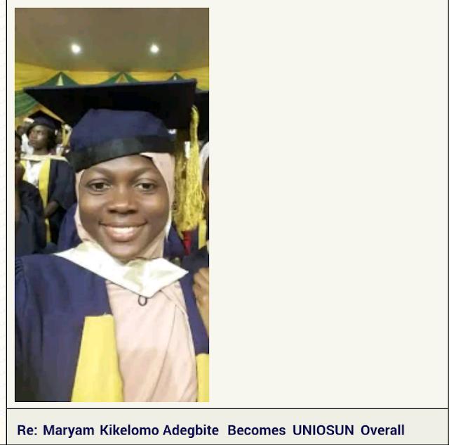 Maryam Kikelomo Adegbite Becomes UNIOSUN Overall Best Student With 4.91 GPA