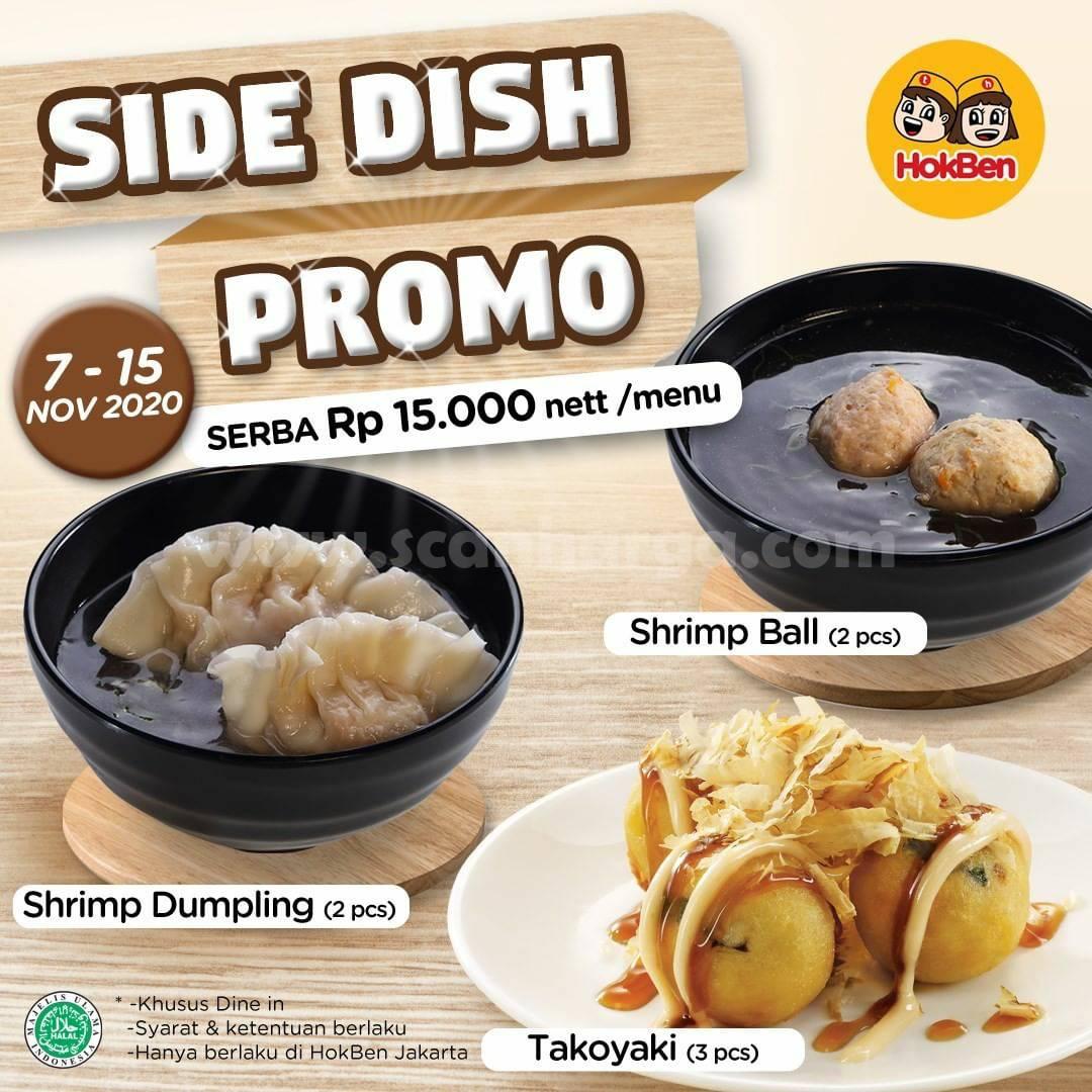 Hokben Side Dish Promo Serba Rp 15.000 nett /menu