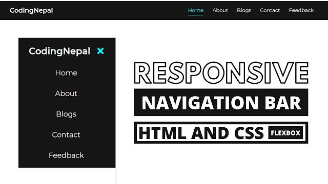 Responsive Navigation Menu Bar using CSS Flexbox