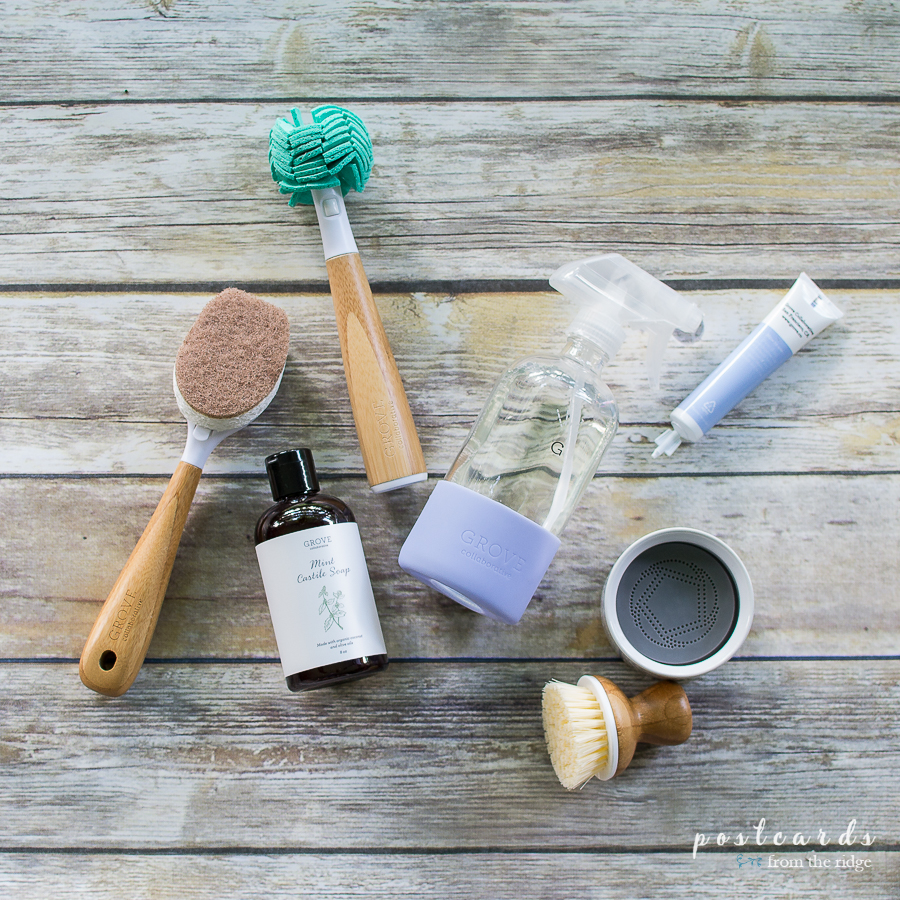 bamboo handled cleaning tools and glass spray bottle