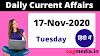 Current Affairs in Hindi 17 November 2020 By-CAGMedia