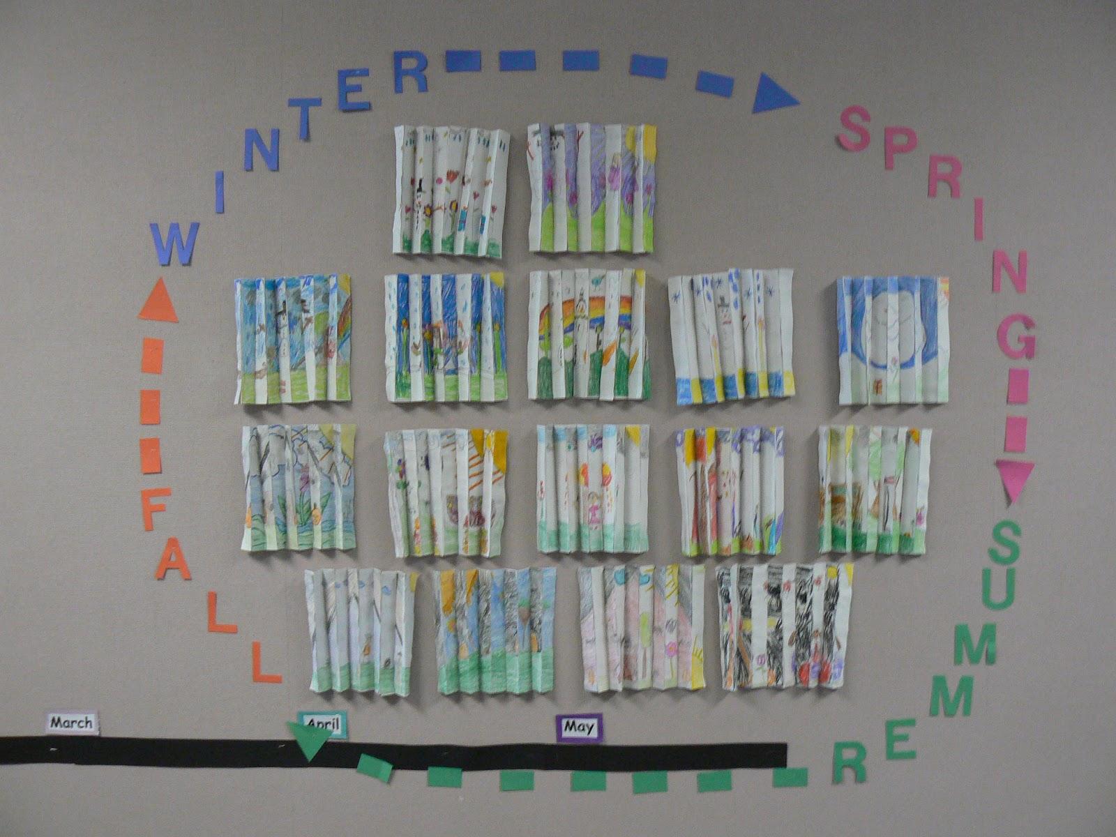 Mrs T S First Grade Class Four Seasons Op Art