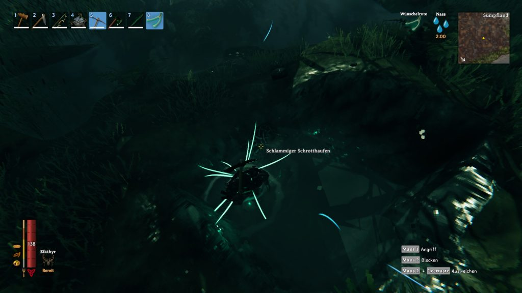 With the divining rod you can find piles of scrap in the swamps.