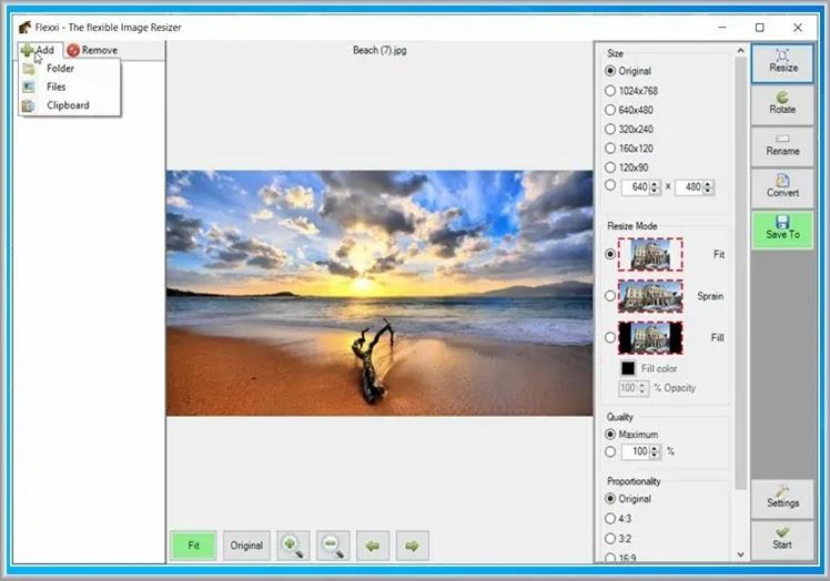 FFlexxi Resizer : Αλλάξτε το μέγεθος, περιστρέψτε, μετονομάστε και μετατρέψτε τις εικόνες σας