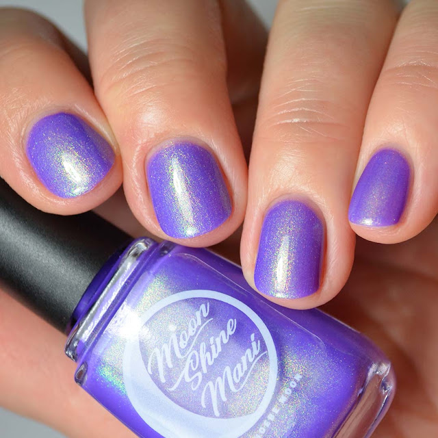neon purple nail polish with shimmer swatch