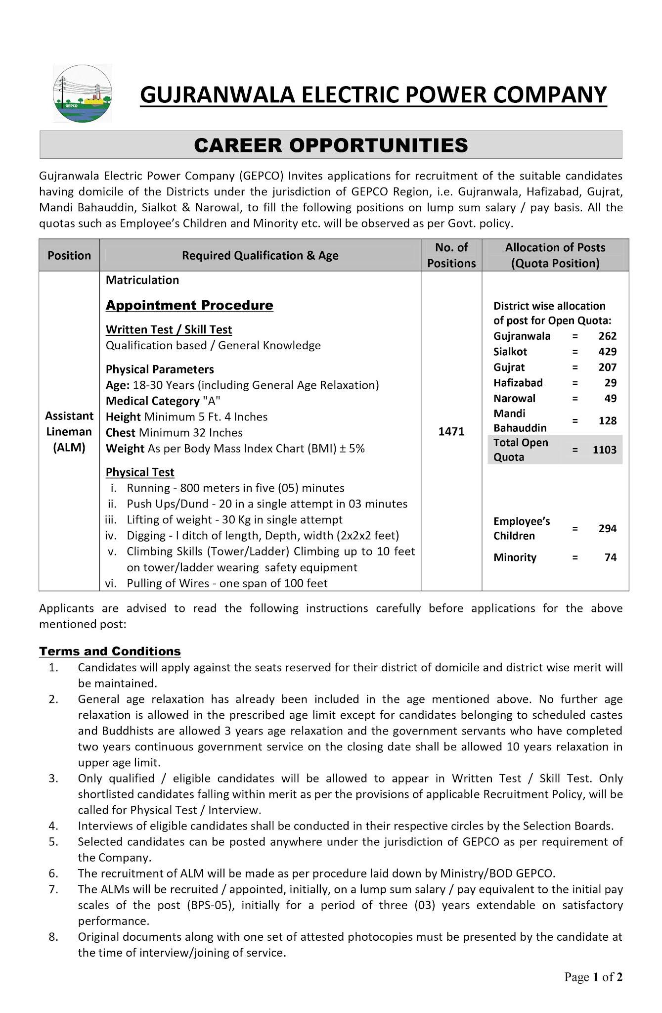 Latest GEPCO ALM Jobs Opportunities 2021 | NTS Jobs In Pakistan 2021 Online Apply