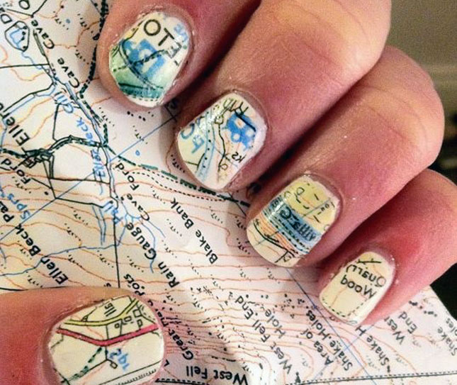 Go around the world nail art ideas inspired by the travaholics map nail art is a must for travel freaks cover those little canvases with colorful maps of places you are about to visit you can buy nail wraps if drawing prinsesfo Choice Image