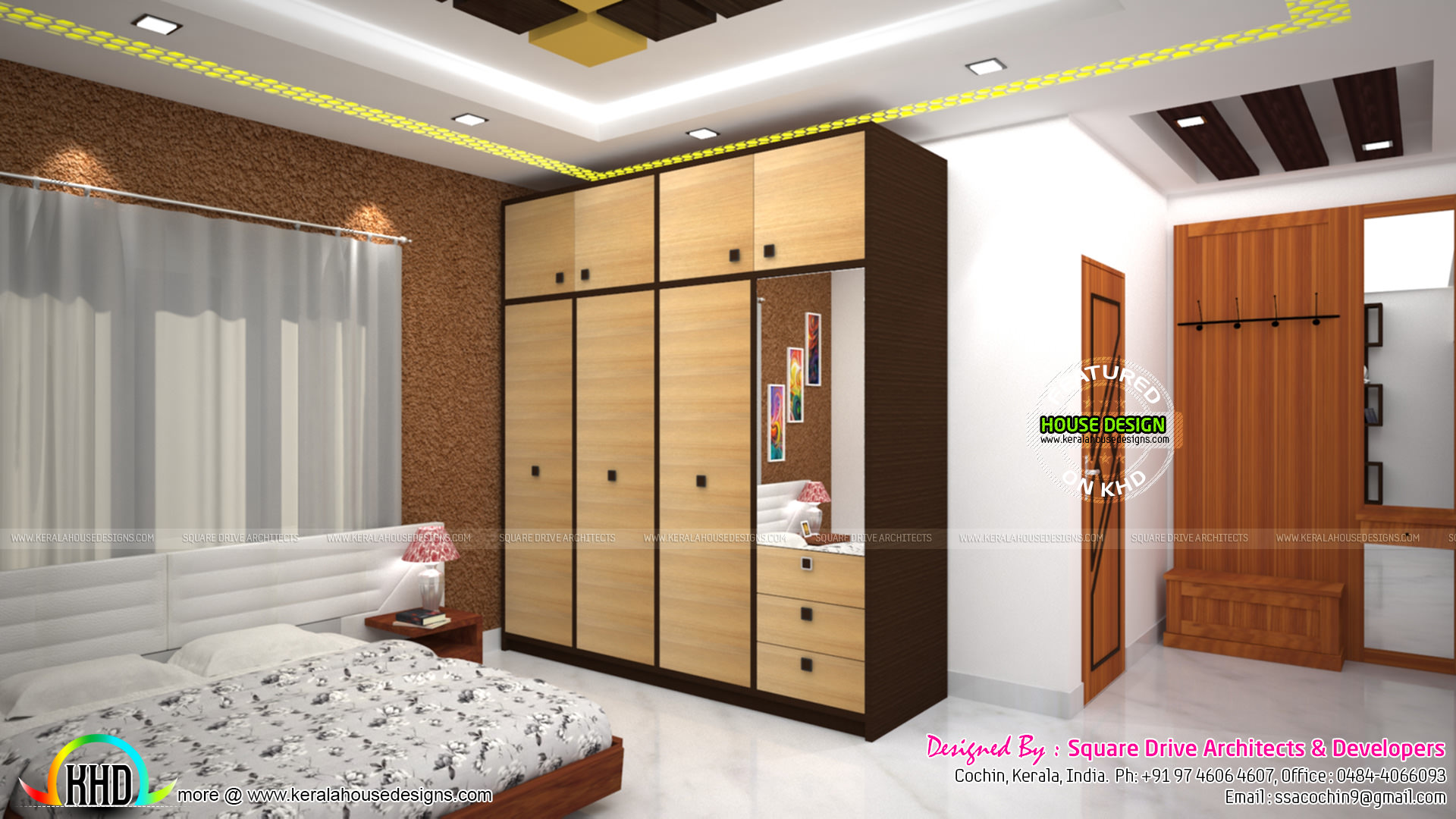 Master bedroom, living and Wardrobe designs - Kerala home