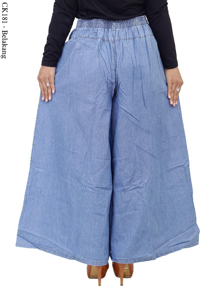 Ck181 Celana Kulot Jeans Motif Bordir Busana Muslim