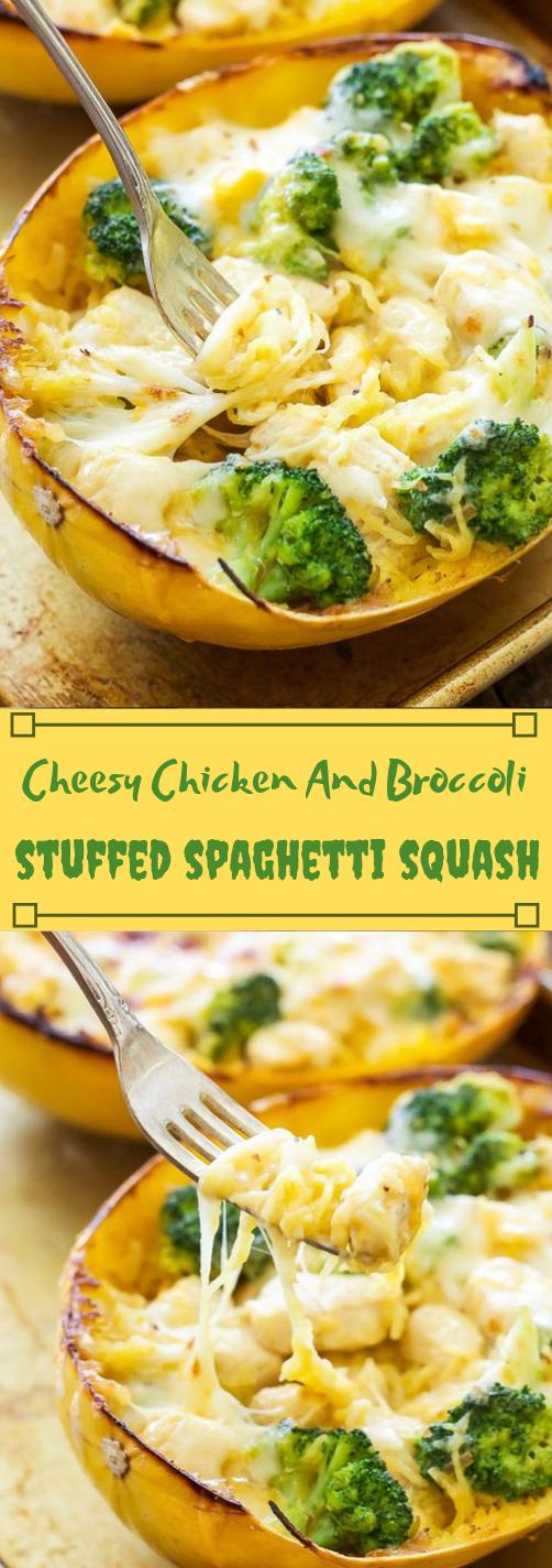 CHEESY CHICKEN AND BROCCOLI STUFFED SPAGHETTI SQUASH #vegetable #broccoli #spaghetti #chicken #yummy