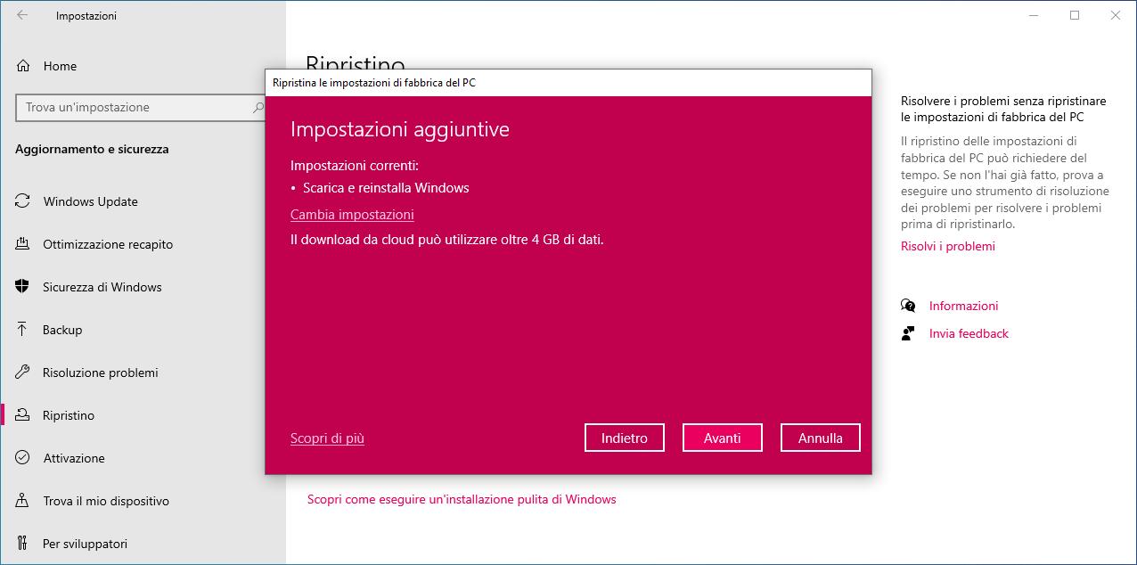 Windows 10 Versione 2004, Microsoft rimuove silenziosamente Installazione da zero