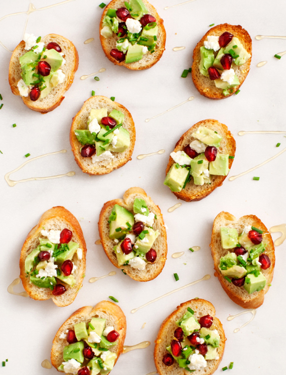 Avocado and pomegranate crostinis recipe by Love and Lemons