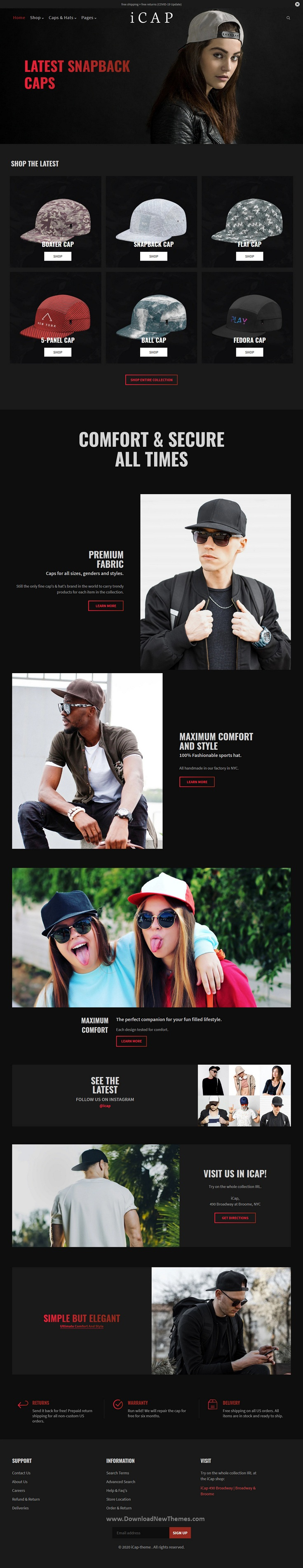 Caps, Fashion Shopping Shopify Theme