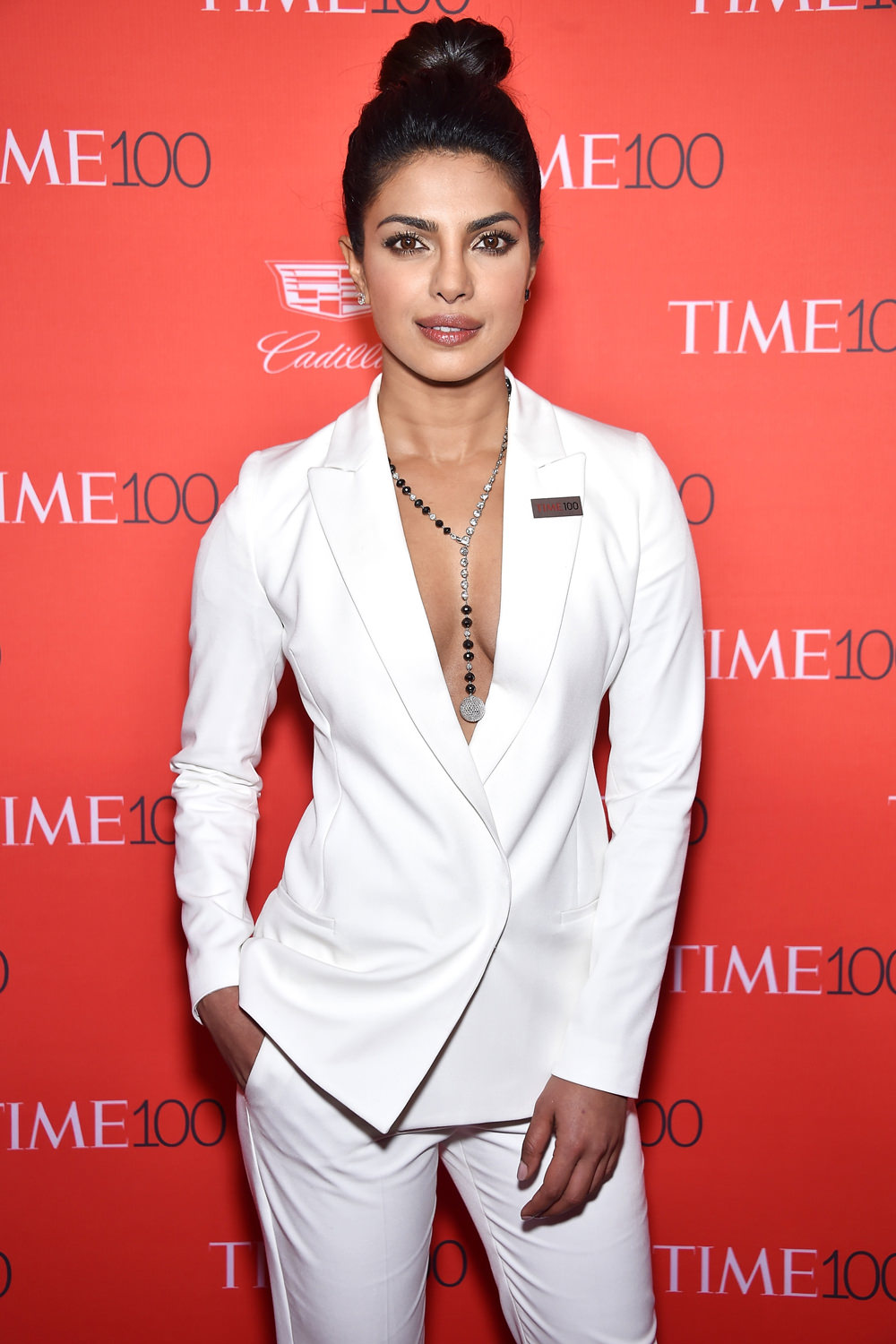 Priyanka Chopra in a white suit by Olcay Gulsen from ST Studio at TIME 100 Gala Event NYC