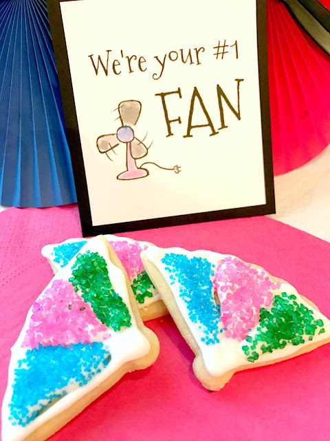 Fan shaped cookies for a FAN party.