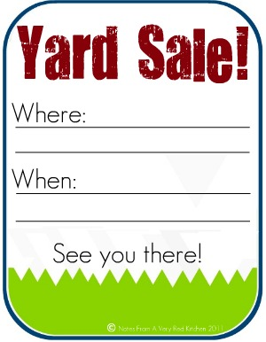 picture regarding Printable Yard Signs named Garage Sale Symptoms Printable